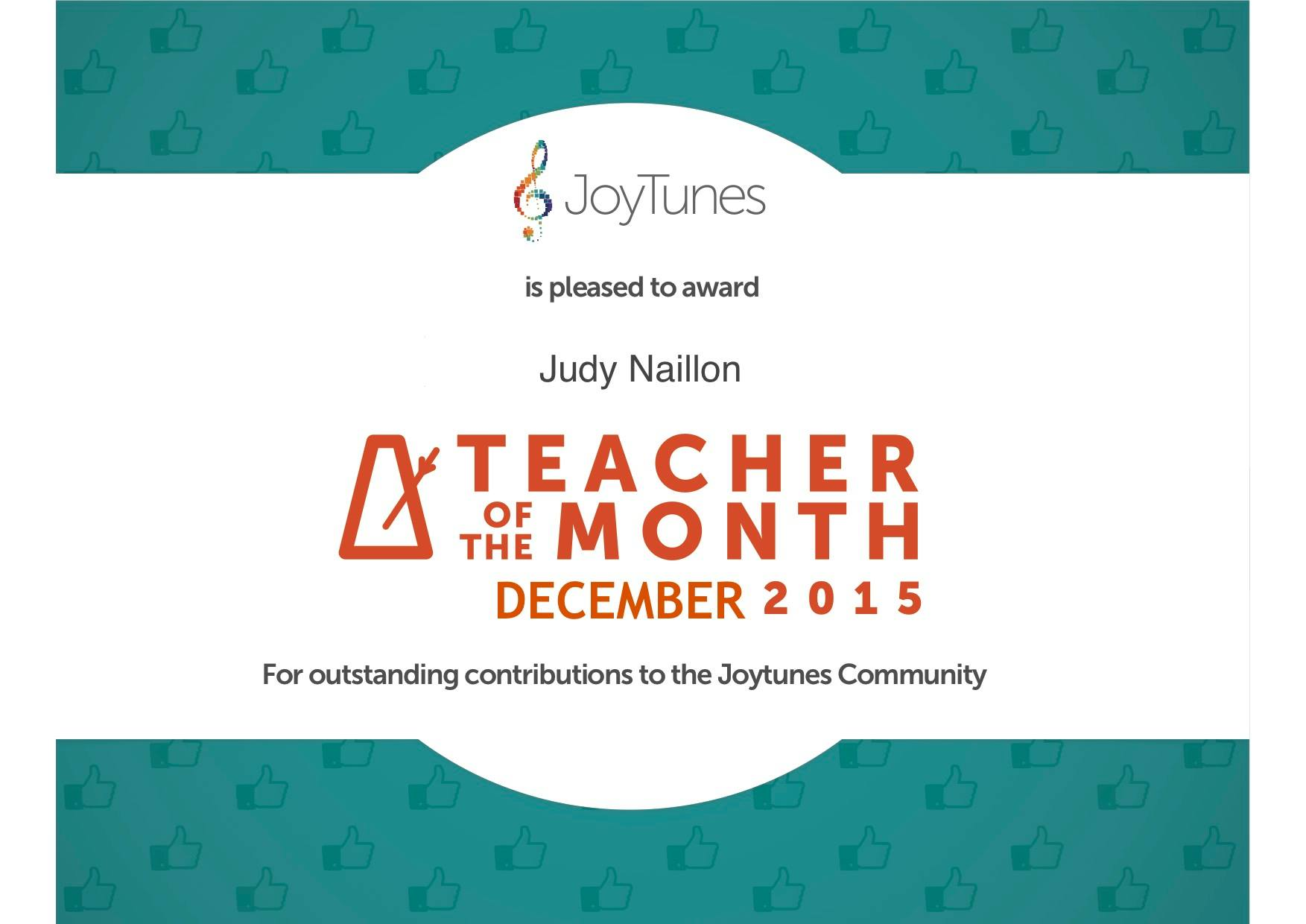 Joy tunes teacher of the month